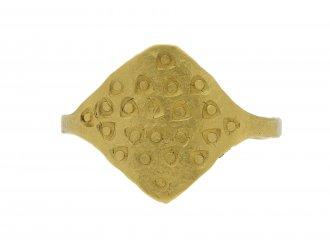 Gold Viking stamped ring hatton garden