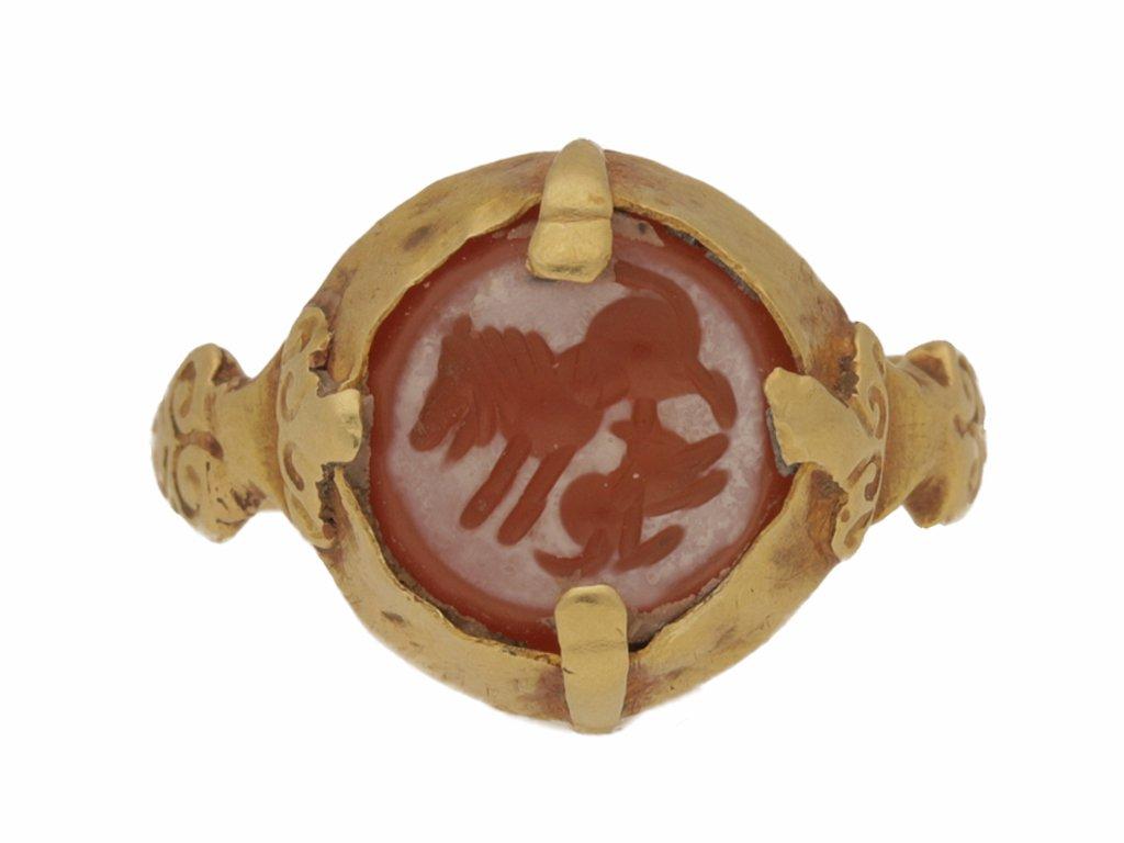 front view Sasanian cornelian intaglio ring, circa 224 651 AD.