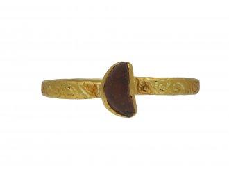 Medieval amethyst engraved ring berganza hatton garden