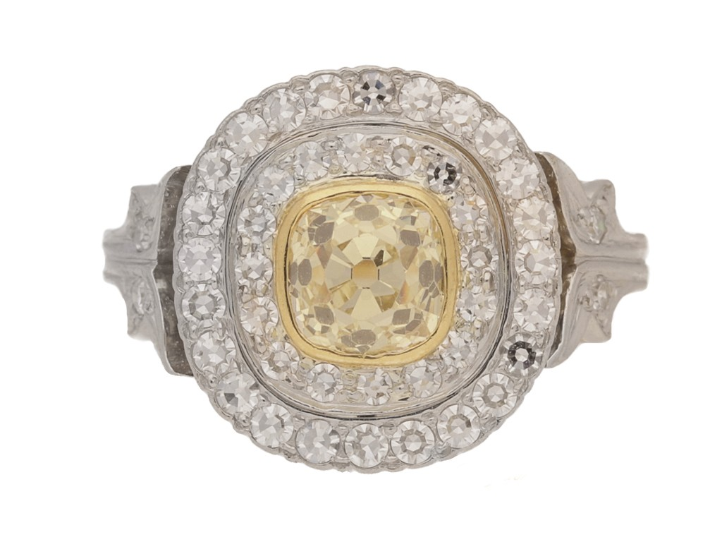 FRONT VIEW Cushion shape old mine diamond cluster ring, circa 1910.
