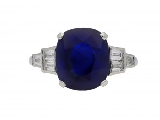 Royal Blue Ceylon sapphire diamond ring berganza hatton garden