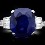 Art Deco Royal Blue Ceylon sapphire and diamond ring, circa 1935.