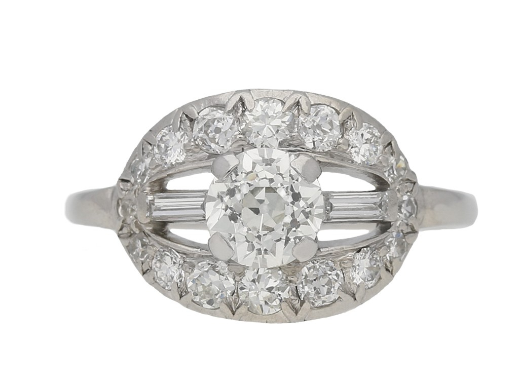 front view Fancy diamond cluste  ring, circa 1920. berganza hatton garden