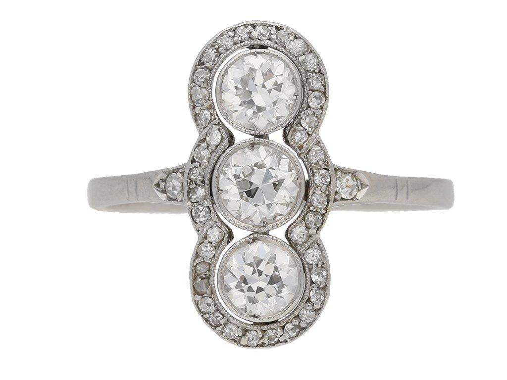 front view antique diamond ring berganza hatton garden