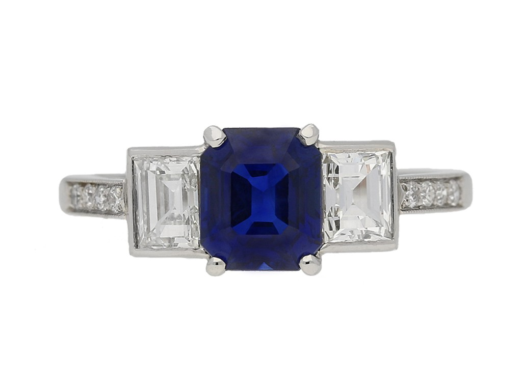 front view Sapphire diamond Art Deco ring berganza hatton garden