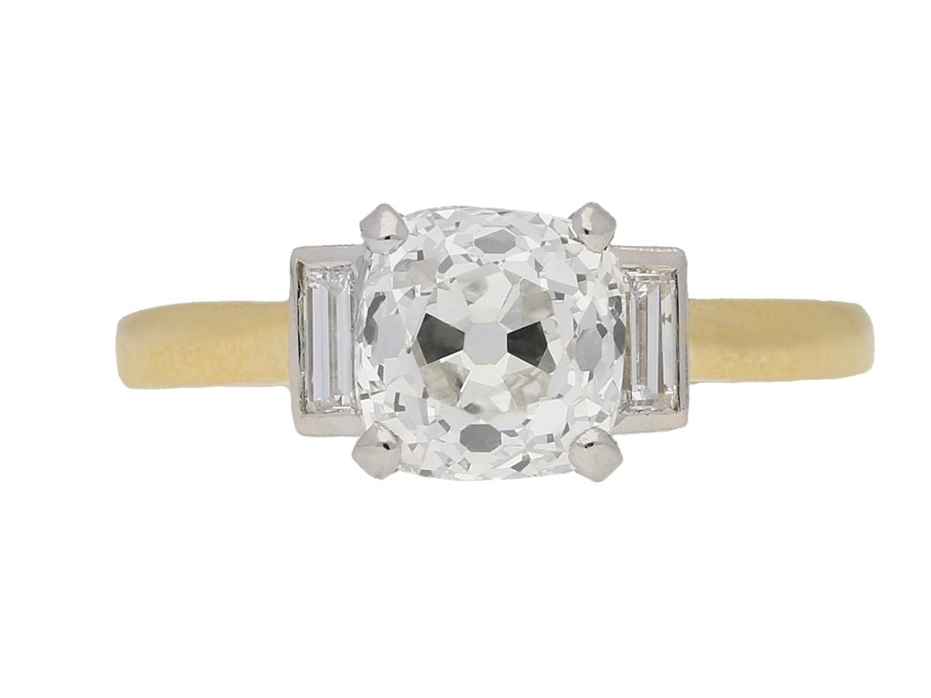 front view Antique diamond ring berganza hatton garden