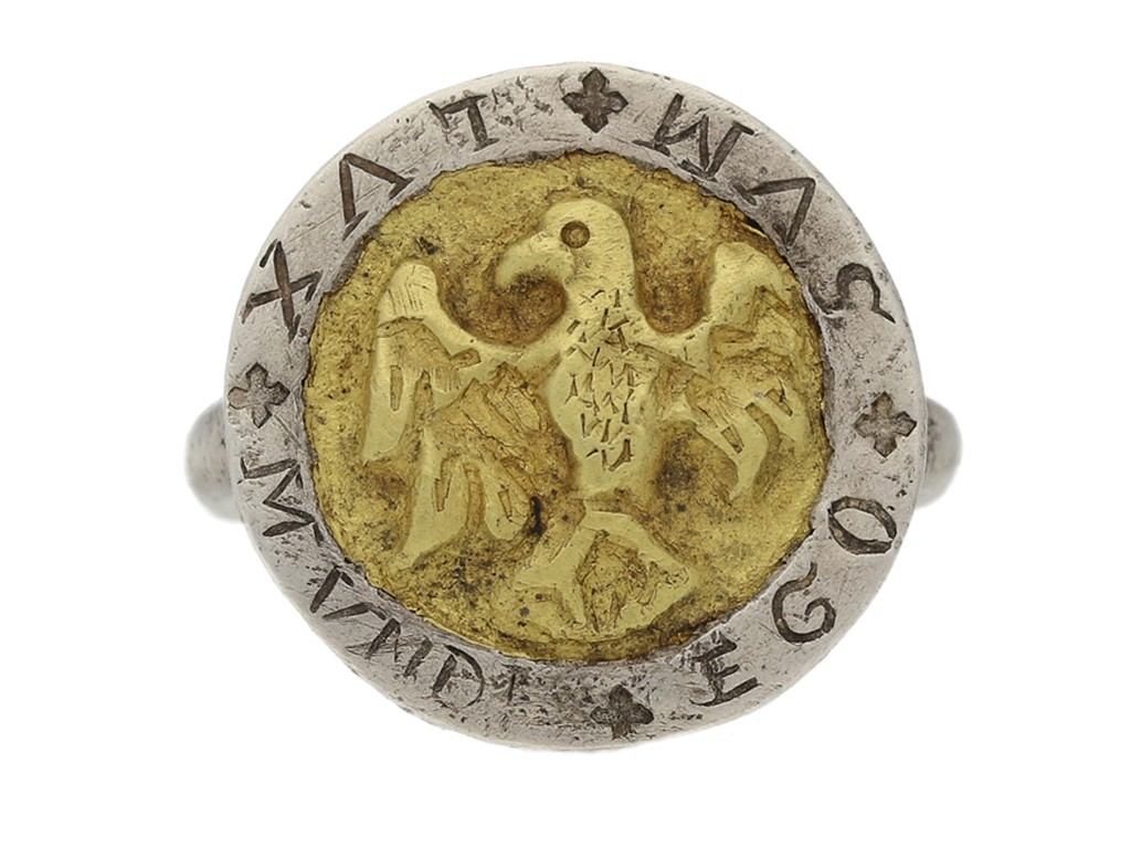 front view Post Medieval silver ring berganza hatton garden