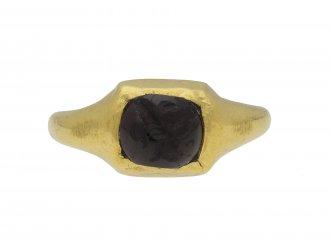 Western Asiatic engraved garnet gold ring berganza hatton garden