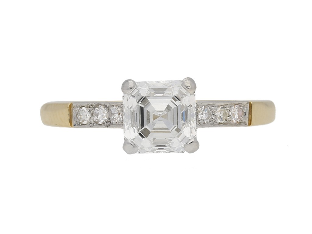 front view Antique Asscher cut diamond ring berganza hatton garden