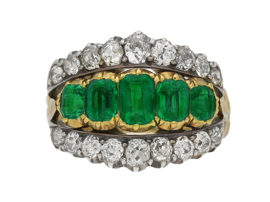 front view antique emerald diamond ring berganza hatton garden