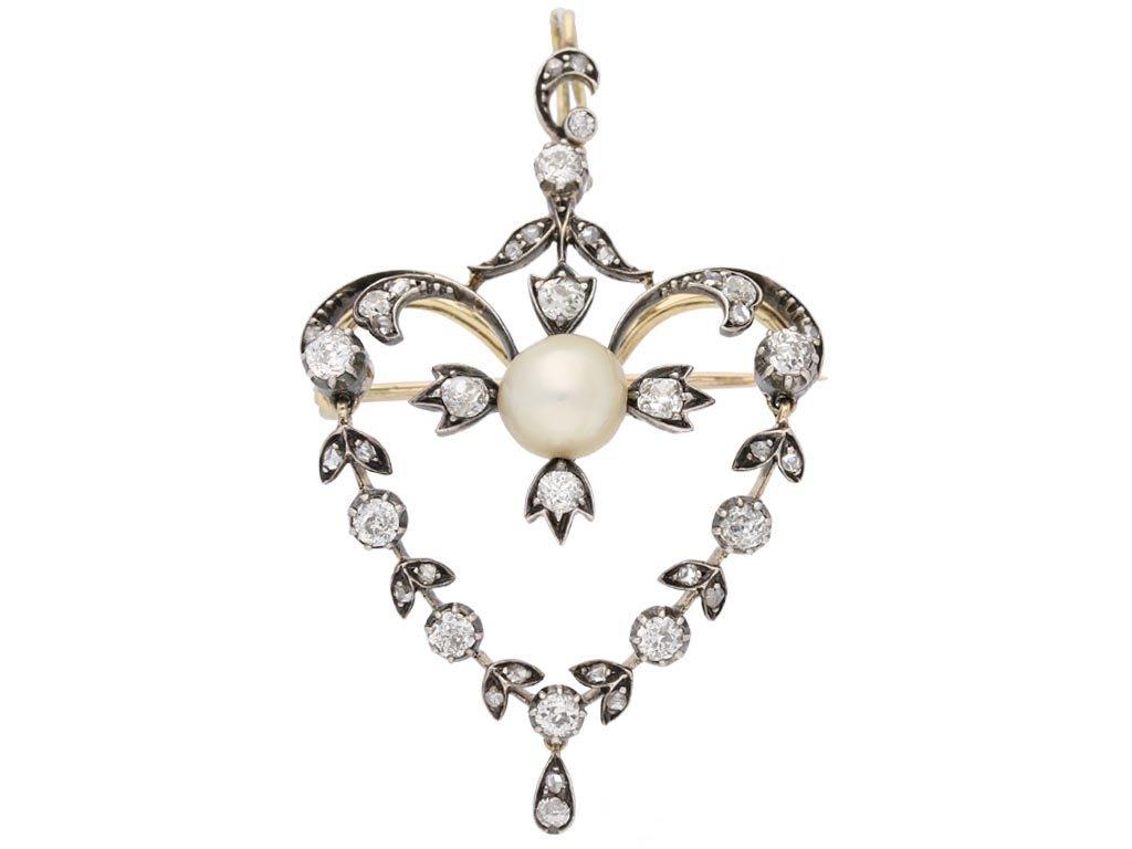 front view Antique natural pearl diamond pendant berganza hatton garden