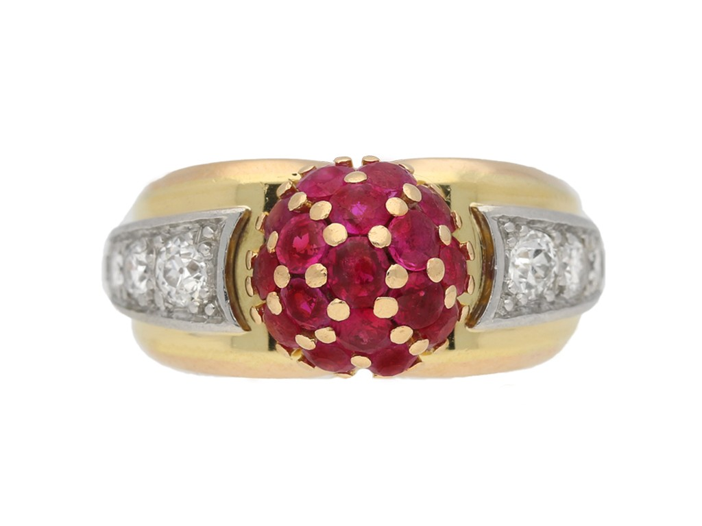 front view Ruby diamond vintage cocktail ring berganza hatton garden