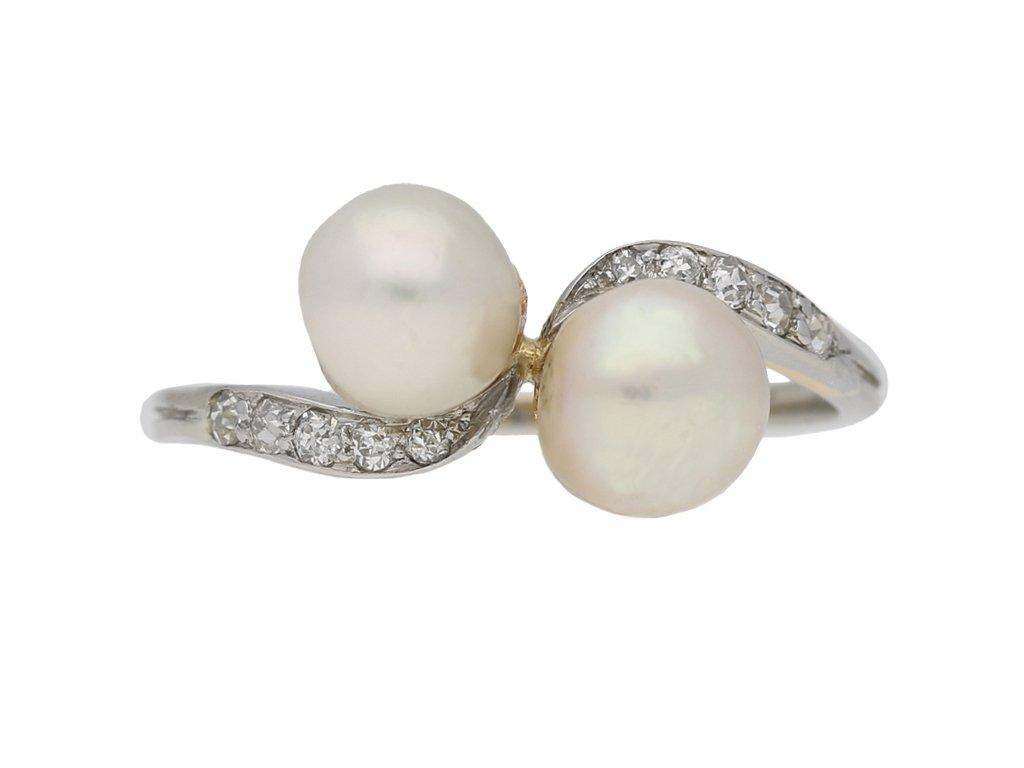 front view antique natural pearl diamond ring berganza hatton garden