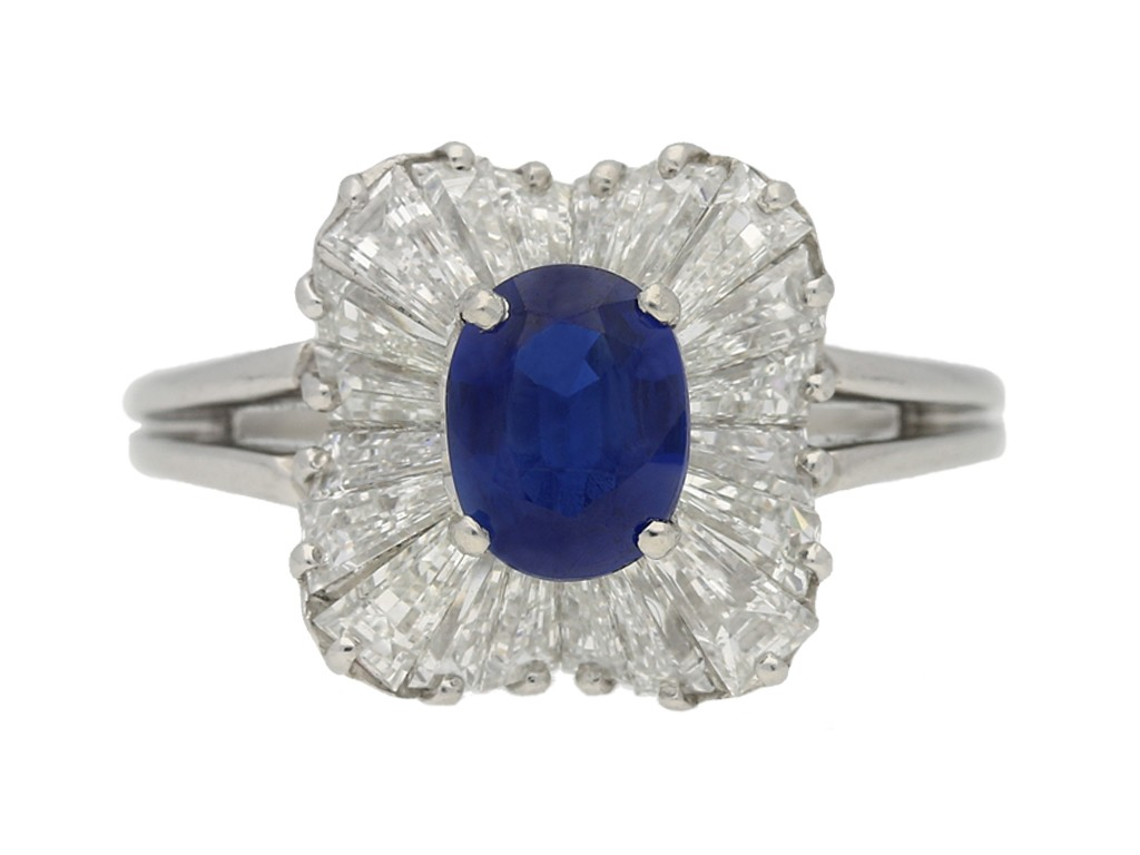 front view  Burmese sapphire and diamond ballerina ring by Oscar Heyman Bros, circa 1970. berganza hatton garden