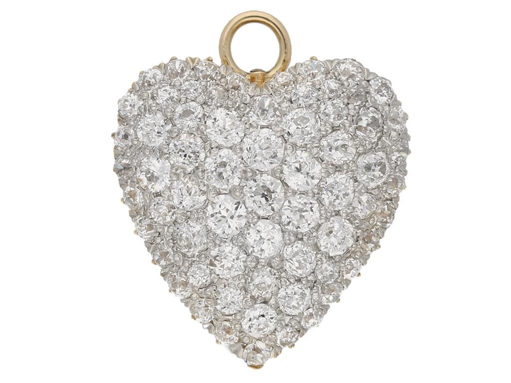 Antique heart shape diamond pendant/brooch hatton garden