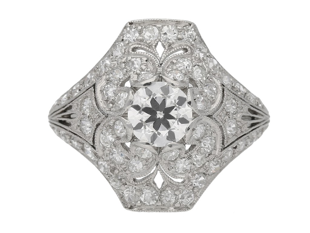 front view Ornate diamond cluster ring, circa 1920. berganza hatton garden