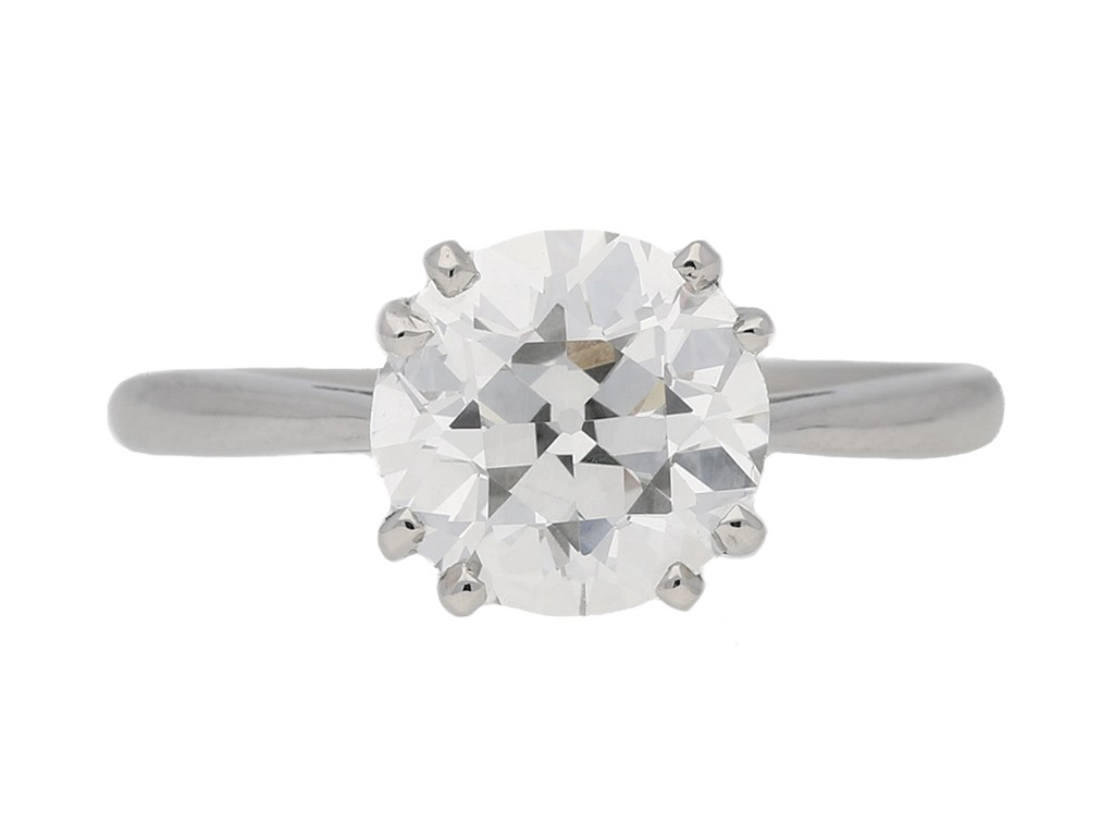 front view Solitaire old cut diamond ring, circa 1950. berganza hatton garden