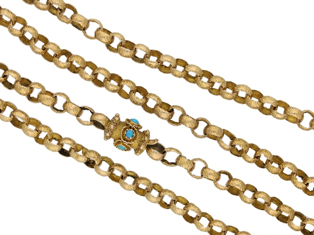 front view  Georgian gold chain with turquoise set clasp, circa 1780 berganza hatton garden
