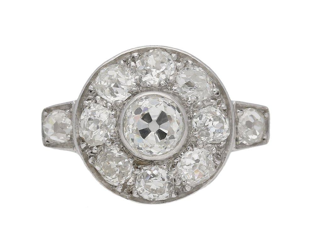 front view Art Deco diamond cluster ring, circa 1935. berganza hatton garden