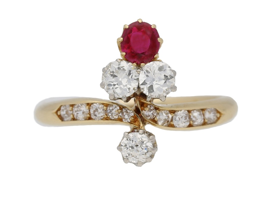 front view Edwardian ruby and diamond ring, circa 1905. berganza hatton garden