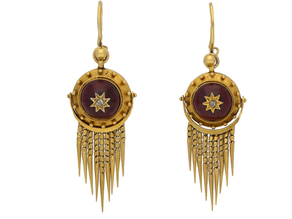 front view Victorian diamond and garnet drop earrings, circa 1870. berganza hatton garden