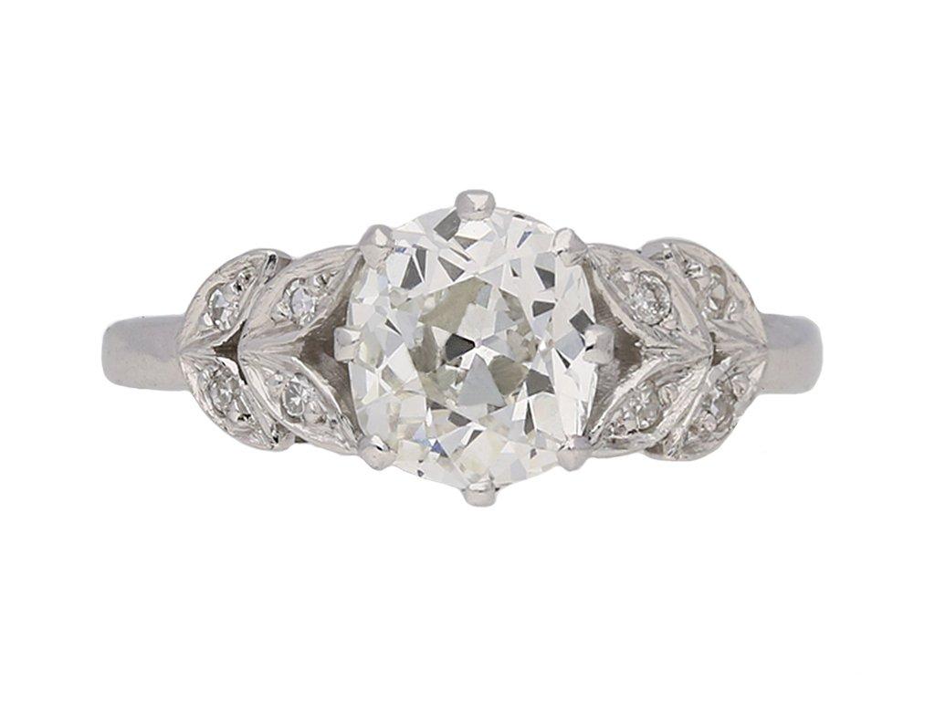front view Art Deco diamond ring, English, circa 1925. berganza hatton garden