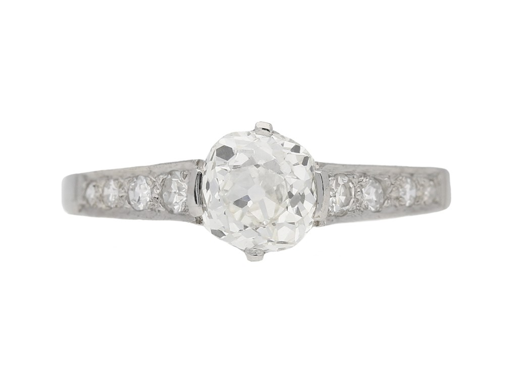 front view Old cut diamond engagement ring, circa 1950. berganza hatton garden