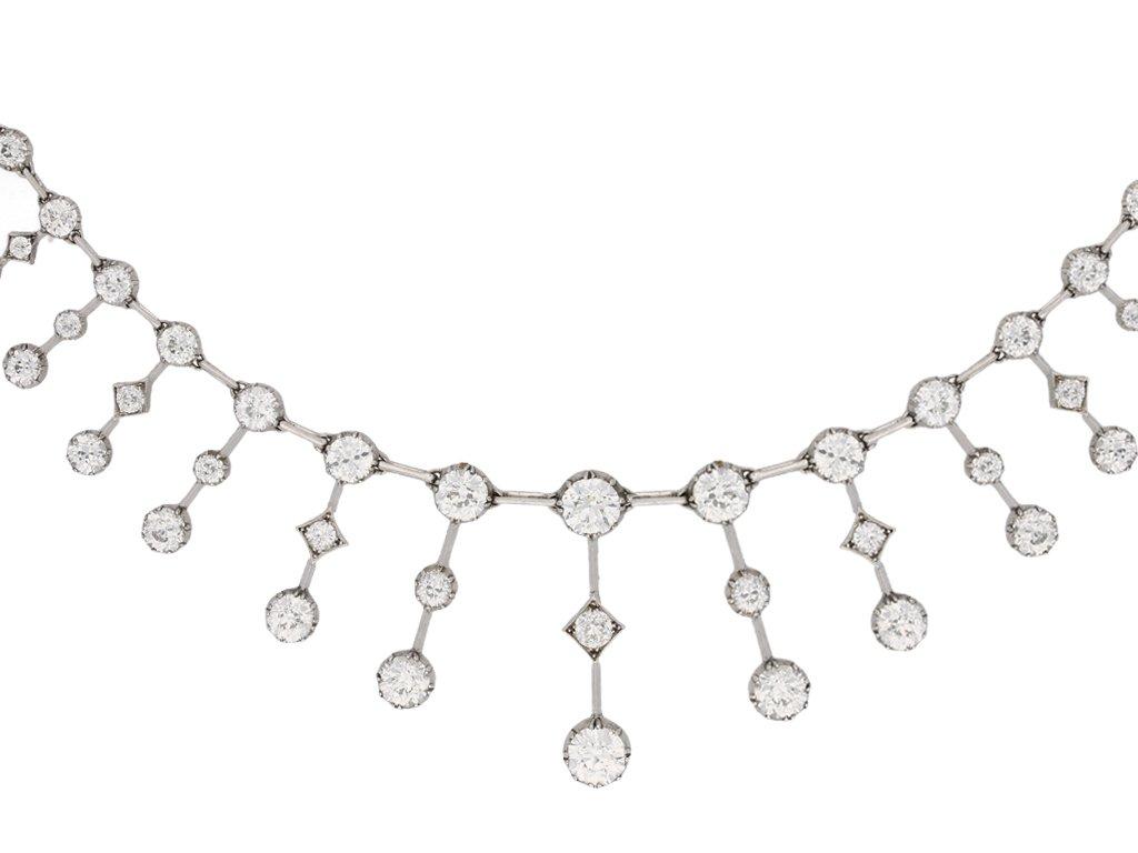 front view Antique diamond necklace, circa 1880. berganza hatton garden