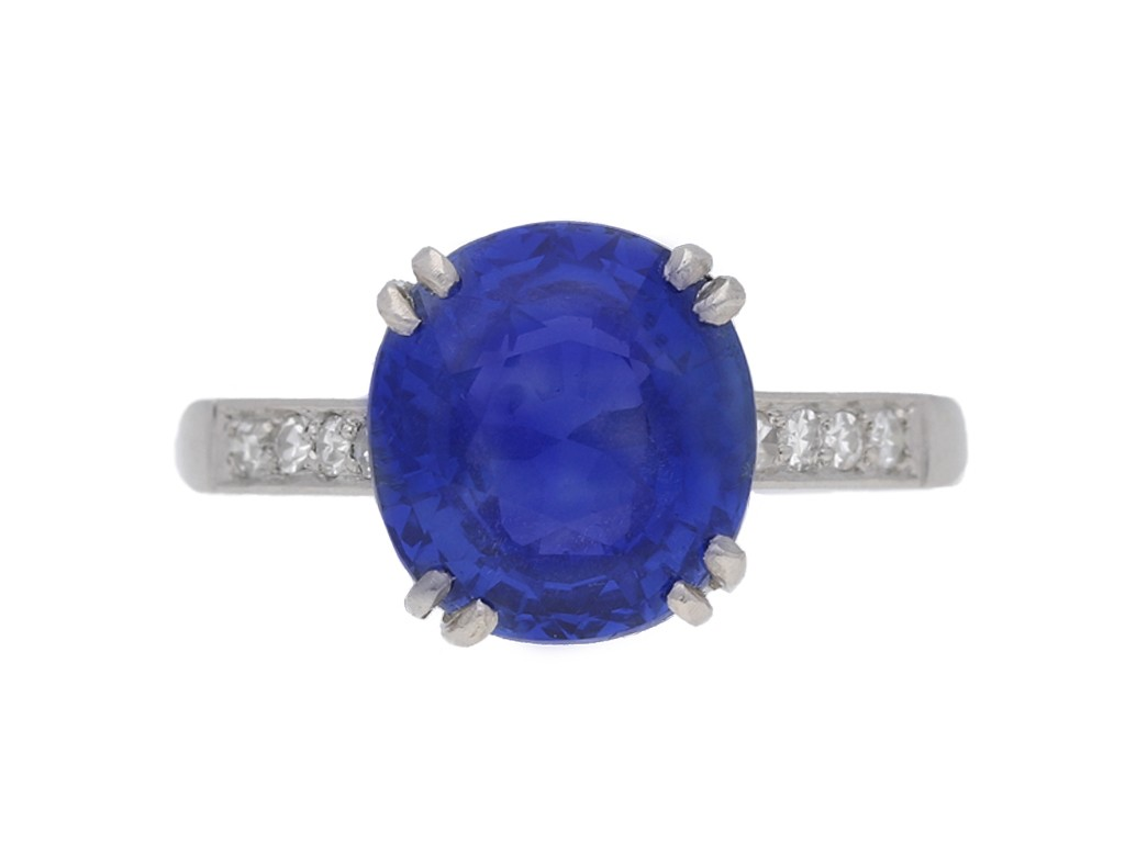 front view Burmese sapphire and diamond ring, circa 1950. berganza hatton garden