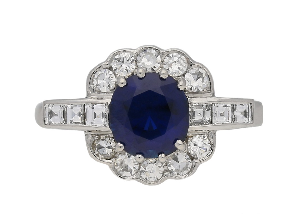 front view Royal blue Burmese sapphire diamond ring berganza hatton garden