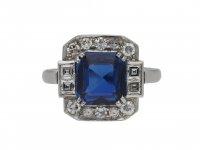 Art Deco sapphire and diamond cluster ring hatton garden