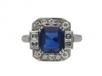Art Deco sapphire and diamond cluster ring hatton garden