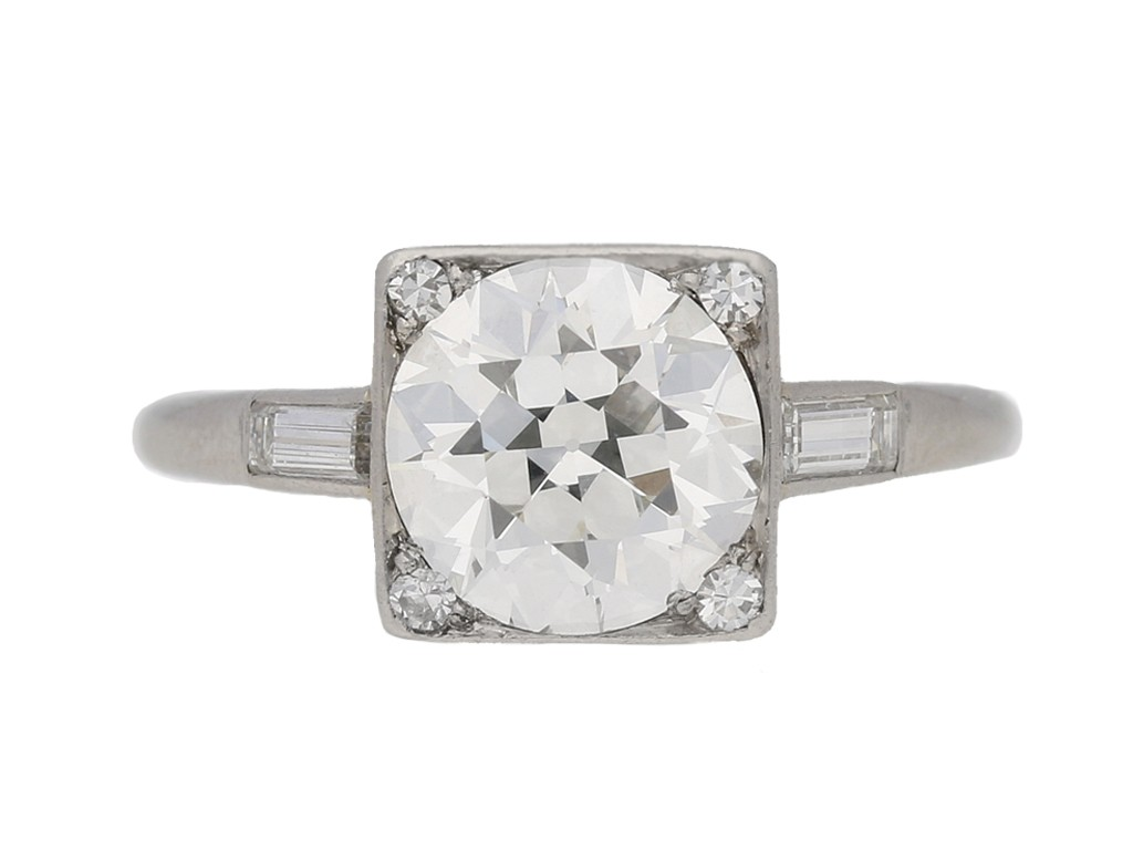 front view Art Deco diamond ring, circa 1930. berganza hatton garden