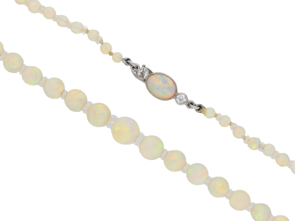 front view Opal bead necklace, circa 1910. berganza hatton garden
