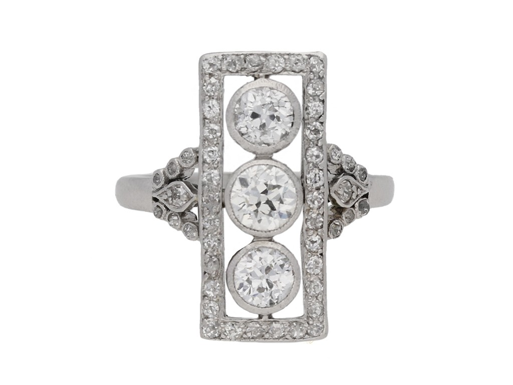 front view Edwardian diamond ring, circa 1905. berganza hatton garden