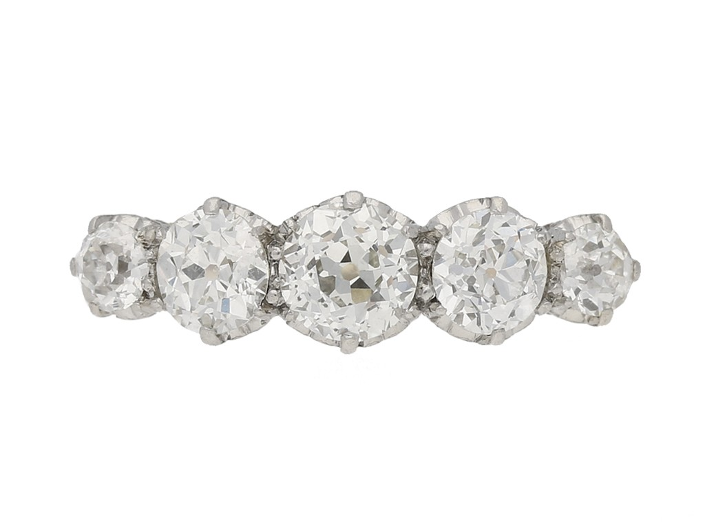 front view Edwardian five stone diamond ring, English, circa 1905. berganza hatton garden