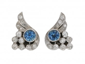 Aquamarine and diamond ear clips berganza hatton garden