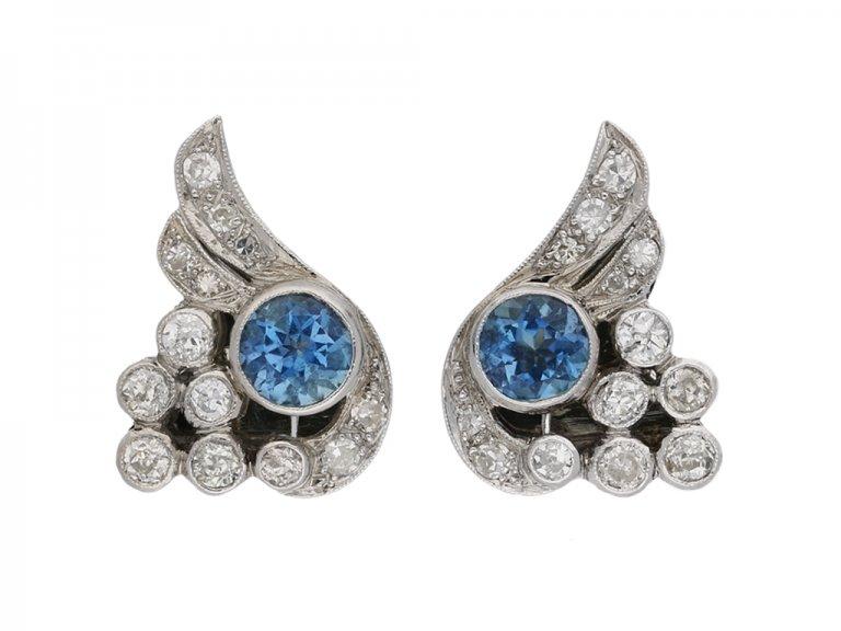Aquamarine and diamond ear clips berganza hatton garden