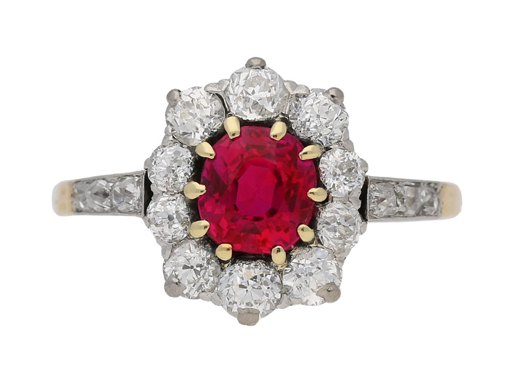 front view Antique Burmese ruby and diamond coronet cluster ring, circa 1905. berganza hatton garden