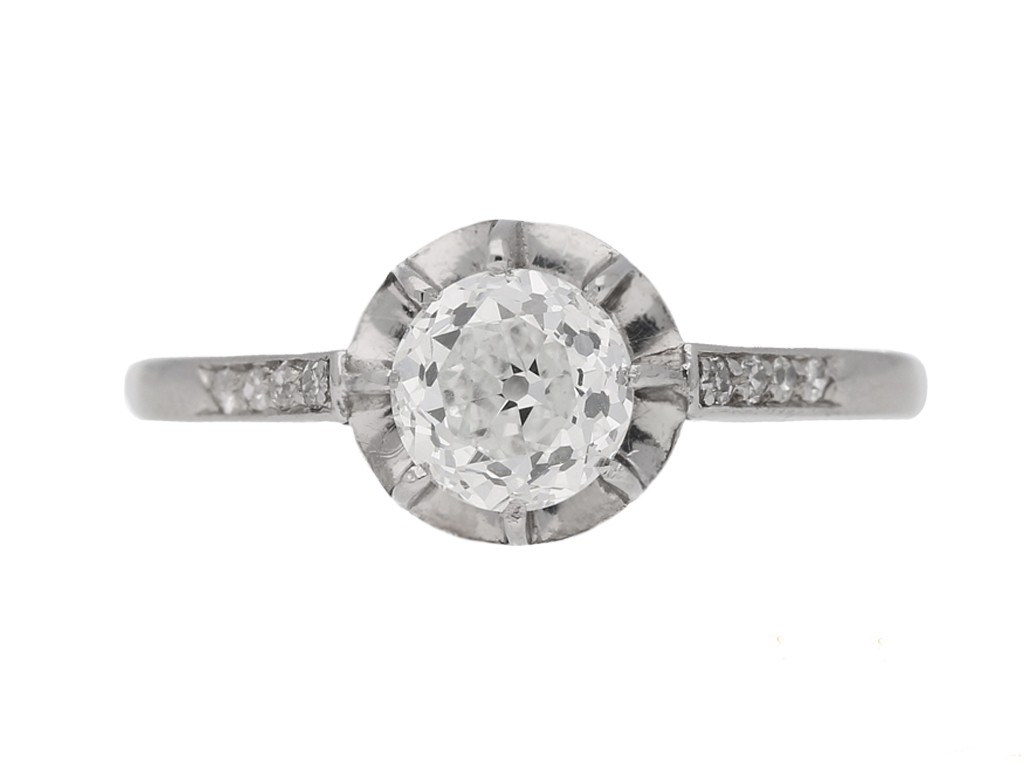 front view Diamond engagement ring, French, circa 1920. berganza hatton garden
