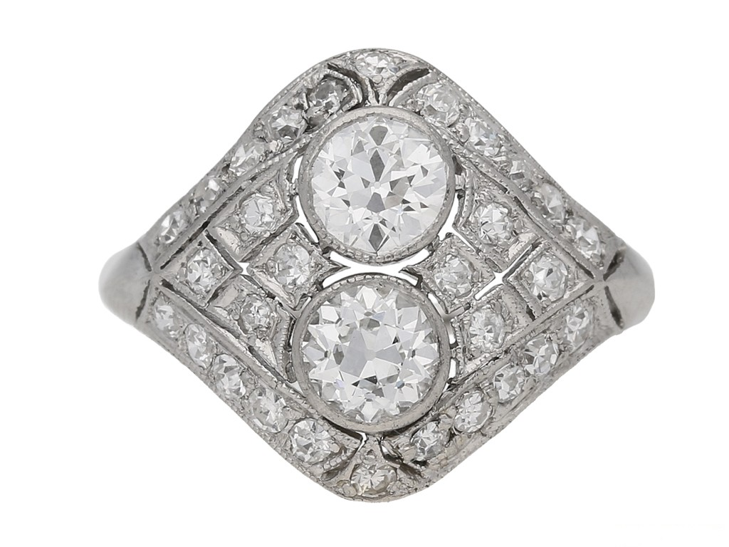 front view Two stone diamond cluster ring, circa 1920. berganza hatton garden
