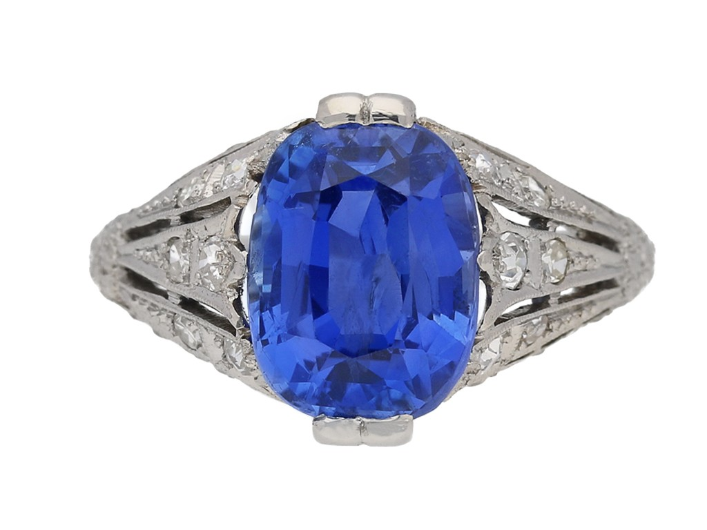 front view Sapphire and diamond ring, circa 1920. berganza hatton garden