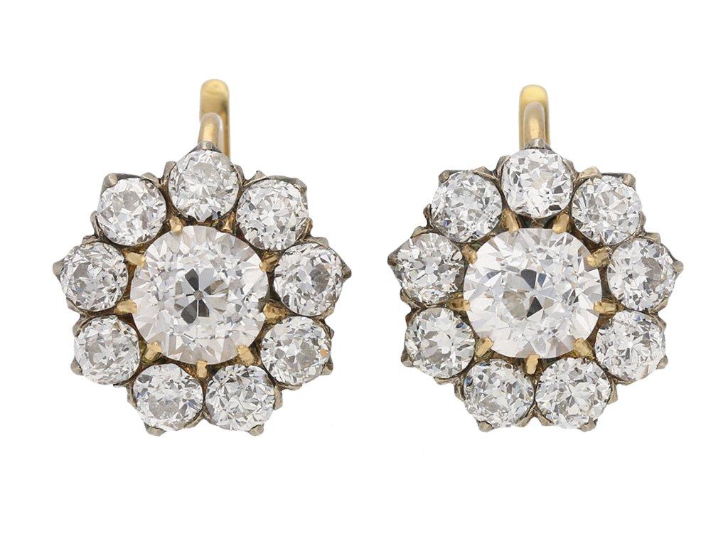 front view Antique diamond cluster earrings, circa 1890. berganza hatton garden