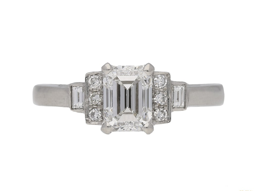 front view Art Deco emerald cut diamond ring, English, circa 1935. berganza hatton garden