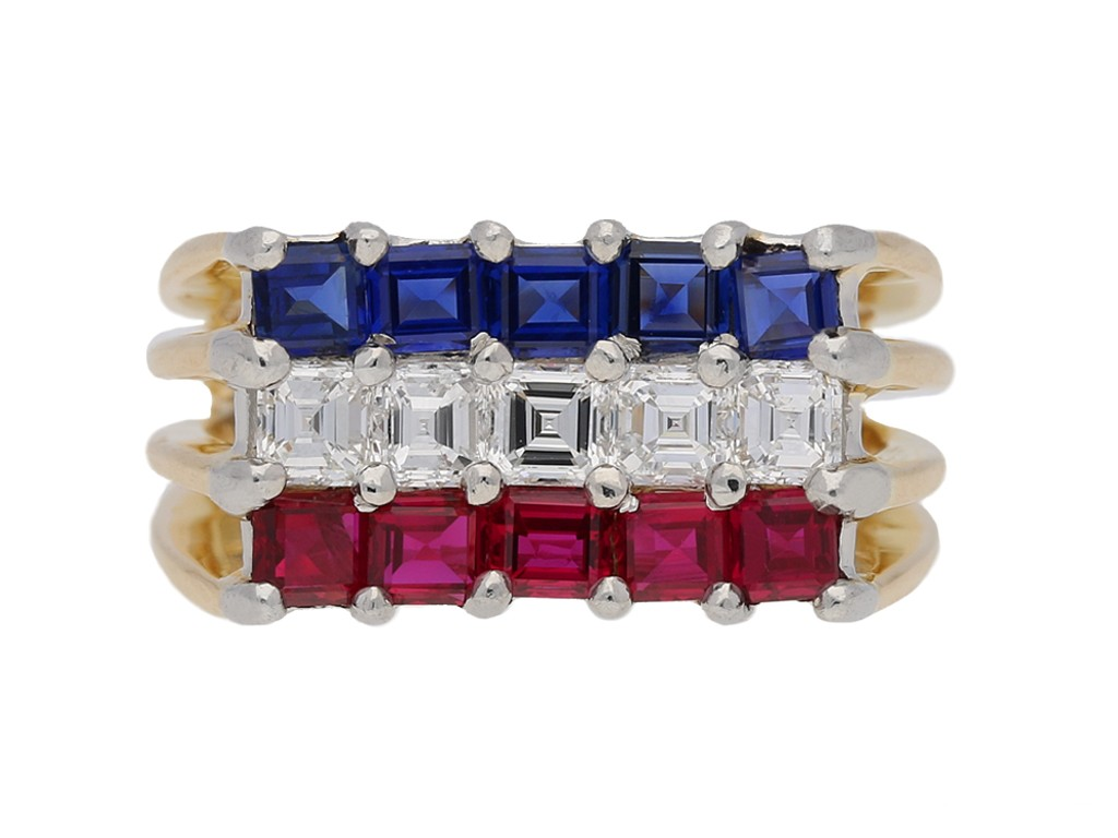 front view Ruby, sapphire and diamond ring by Cartier, circa 1976. berganza hatton garden