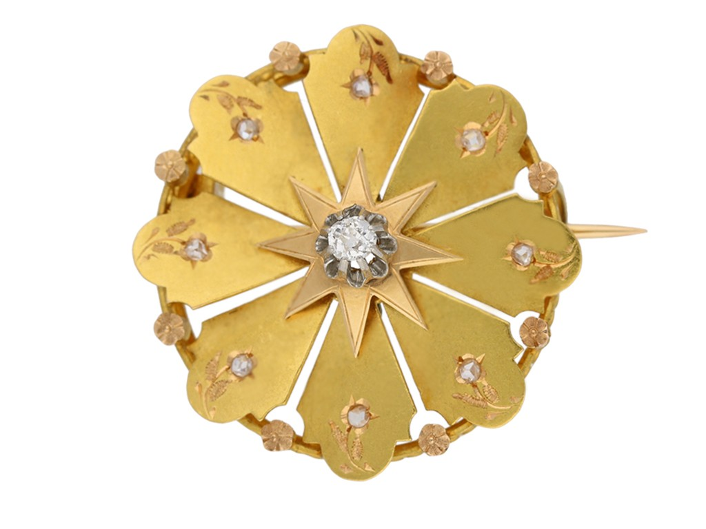 front view Antique diamond and gold brooch by René Boivin French, circa 1900. berganza hatton garden