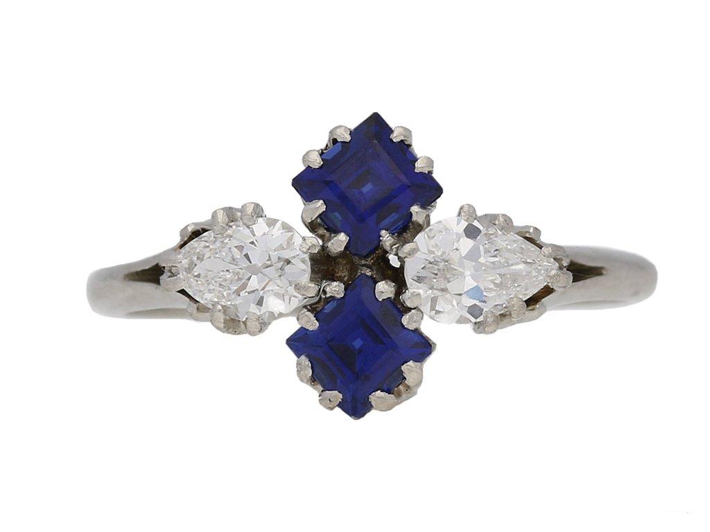Sapphire and diamond cluster ring, circa 1930. berganza hatton garden