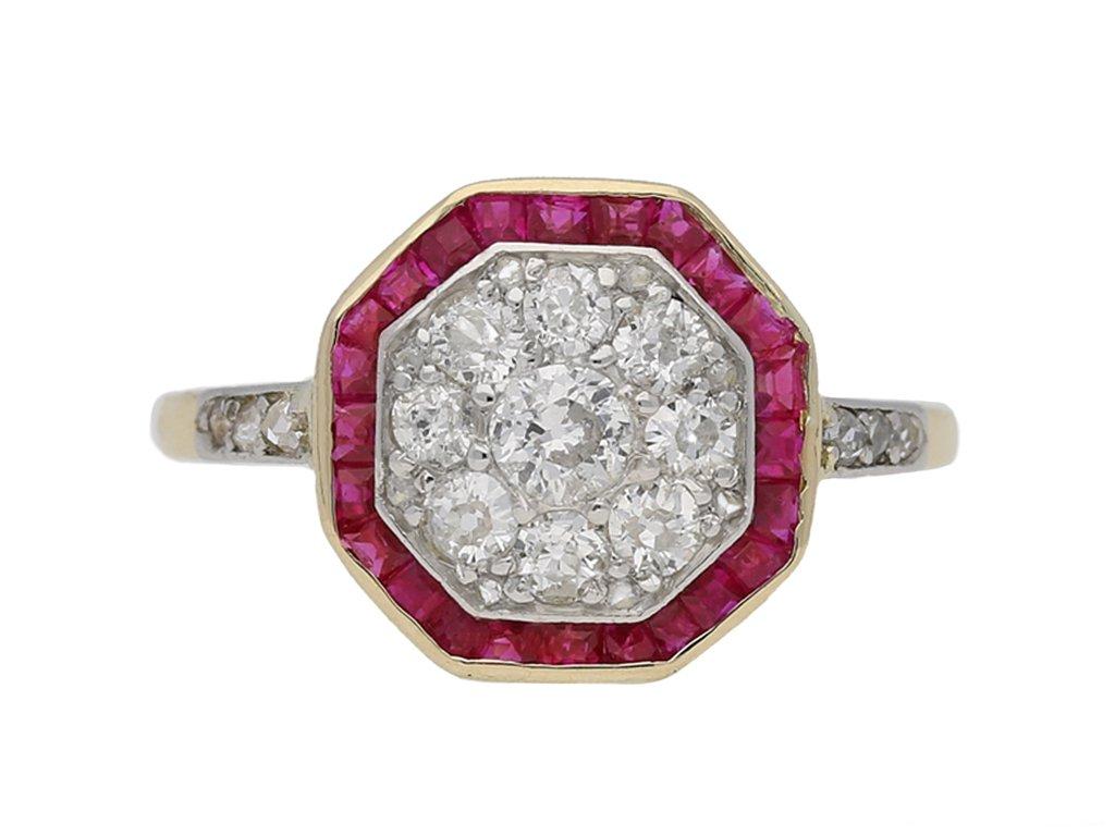 Diamond and ruby cluster ring, circa 1921. berganza hatton garden