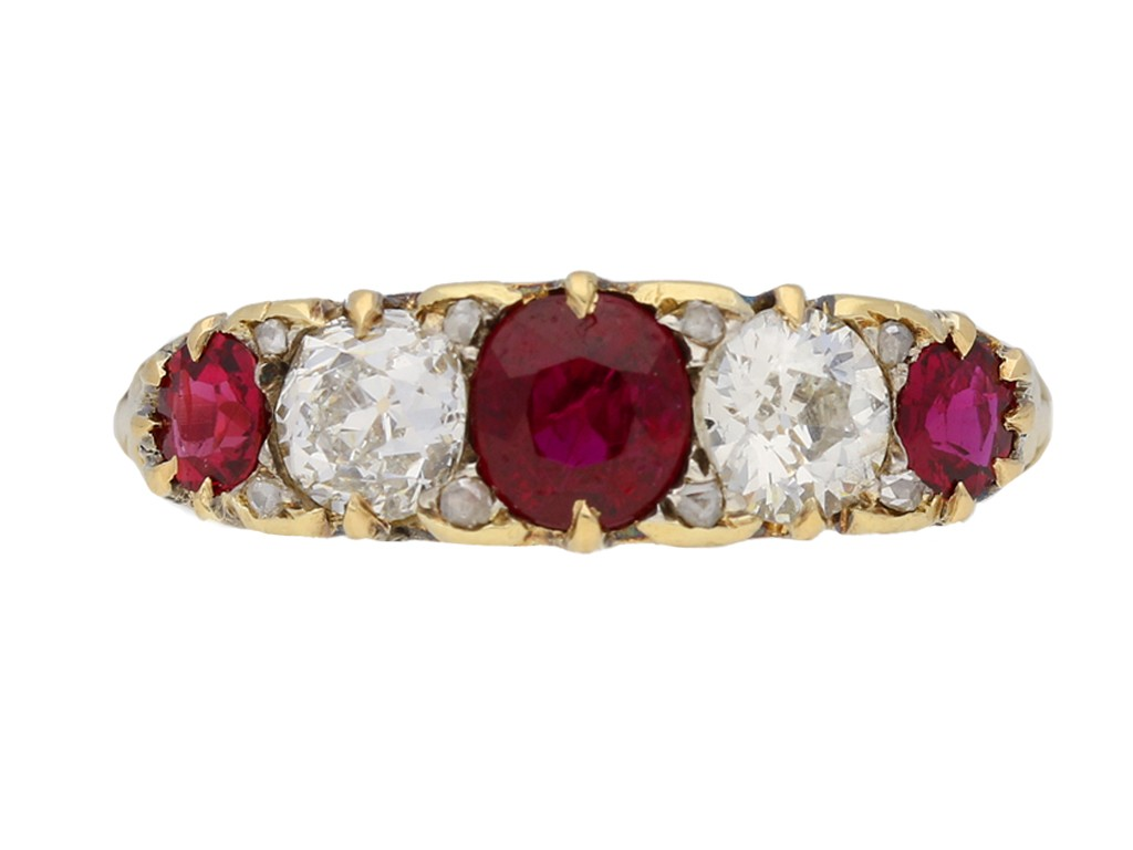 Antique five stone ruby and diamond ring, English, circa 1900. berganza hatton garden