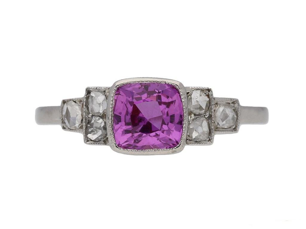Art Deco pink sapphire diamond ring berganza hatton garden